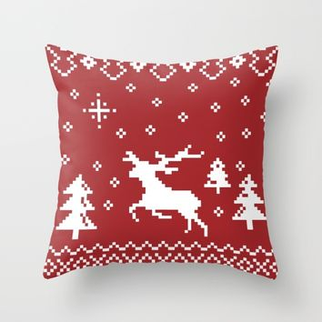 CHRISTMAS DEER II Throw Pillow by Metron
