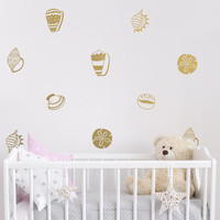 Seashell Wall Decals - Seashell Decals, Vinyl Wall Decals, Nursery Decals, Beach Decor, Nautical Wall Decor, Removable Wall Stickers