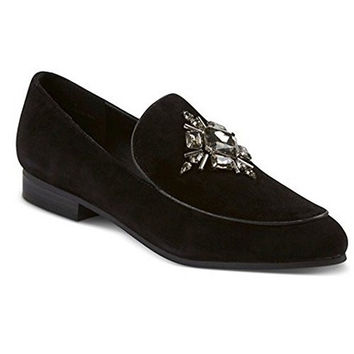 Women's Faryl Easton Embellished Black Suede Loafers