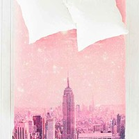 Bianca Green For DENY Stardust Covering NYC Duvet Cover- Pink