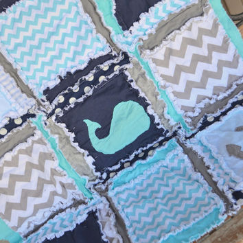 RAG QUILT, Nautical Whale, Anchor, and Sailboat with Chevron, and Polka Dot in Navy Blue and Aqua, Ready to Ship