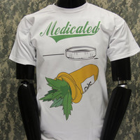 Lets Get Medicated Weed Medical  - Crew neck t shirt -Trill  Weed Kush 420 Chieffin stoner