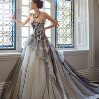 Gothic Style Wedding Dress Black Strapless A Line Tulle Organza with Appliques Chapel Train Designer Gown for Bridal MG131 Alternative Measures - Brides & Bridesmaids - Wedding, Bridal, Prom, Formal Gown