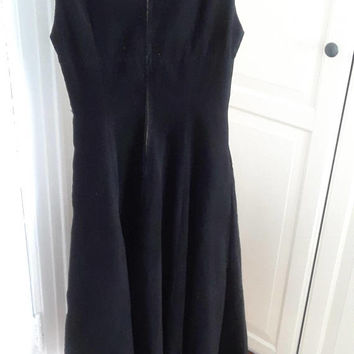 1950s Fit & Flare Dress, Full Skirt, Fine Wale Black Corduroy, Size Small, 33B