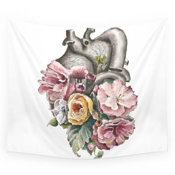 Society6 Floral Anatomy Heart Wall Tapestry
