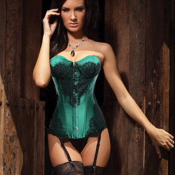 Green Floral Lace Patch Sweetheart Neckline Corset