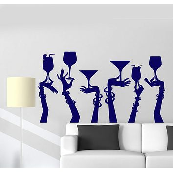 Vinyl Wall Decal Woman Hands Cocktail Glass Party Bar Night Club Stickers Unique Gift (ig4752)