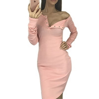 Autumn Winter Knitted Dresses Long Sleeve One Shoulder Button 2016 Sexy Knitwear Dress Knitting Bodycon Dress Vestidos GV412