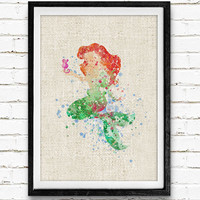 Ariel Little Mermaid Watercolor Art Print, Baby Girl's Room Nursery Wall Art, Minimalist Home Decor, Not Framed, Buy 2 Get 1 Free!