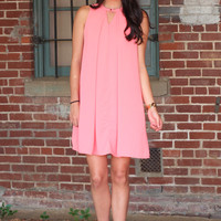 Summer Shift Solid Keyhole Dress {Coral}