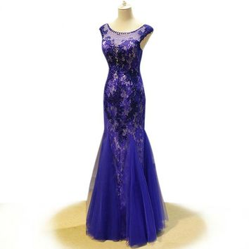 Mermaid Evening Dress Royal Blue Dress Floor Length elegant evening gowns party dresses Robe