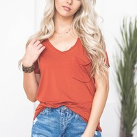 V-Neck Simple Fun Top | Rust