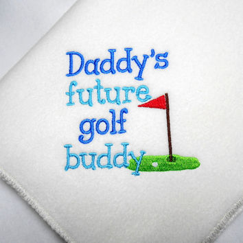 Baby Blanket, Golf Baby, Ivory Fleece, Handmade, Embroidered, Daddys Future, Golf Buddy, Baby Gift, 32 X 30, Baby Shower Gift, Infant