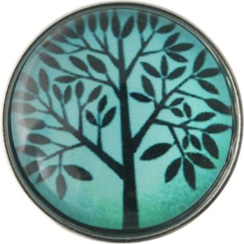 "Snap Charm Tree Turquoise Background 20mm 3/4"" Diameter"