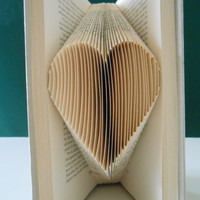 Folded Book Art - Your Heart Unique Gift Love Book Sculpture