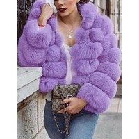 New Purple Faux Fur Hooded Long Sleeve Fashion Coat