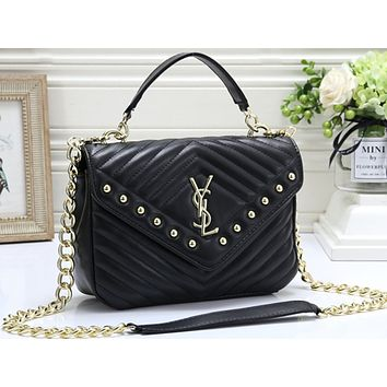 YSL Hot Selling Fashion Pure Nail Lady's Single Shoulder Bag Black