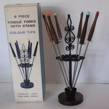 Fondue Fork Holder Boxed NOS with Rosewood Handle Mid-Century Design