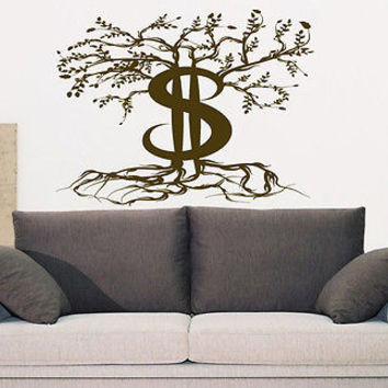 Money Tree money dollars clasp Kids Room Stylish Wall Art Sticker Decal 7746