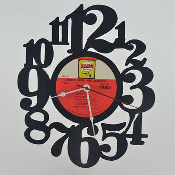 Handcrafted Vinyl Record Wall Clock (artist is Neil Diamond)