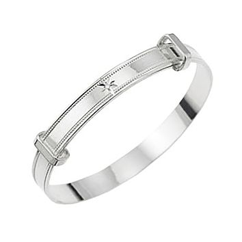 Baby's Bangles with 'Real Diamond' Adjustable - STERLING SILVER