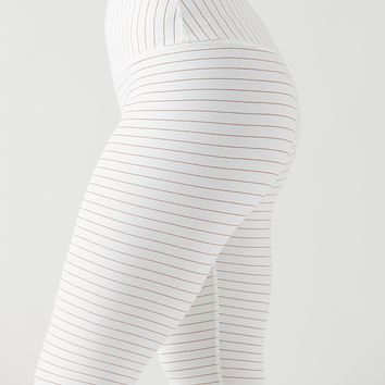 Sultry Legging: White/Copper Stripe