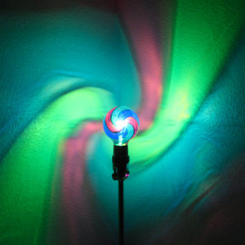 The ORIGINAL Hand-Painted Green/Blue/Purple Spiral Mood-Light Bulb 4 Color Therapy, Night Lights, Parties, Mood Lighting