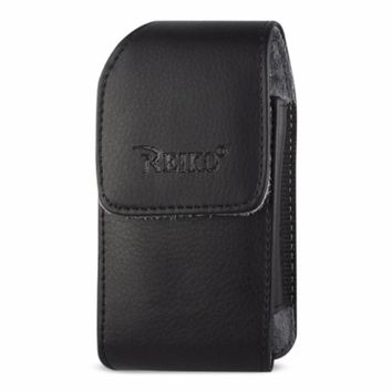 Reiko REIKO VERTICAL LEATHER POUCH TREO 650 WITH MEGNETIC AND BELT CLIP IN BLACK (4.4X2.3X0.9 INCHES)