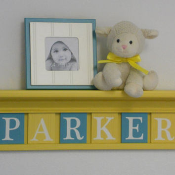 "Yellow and Turquoise Nursery Wall Decor Personalized for PARKER - 24"" Shelf with 6 Wooden Letters in Teal / Yellow, Baby Girl Nursery Decor"