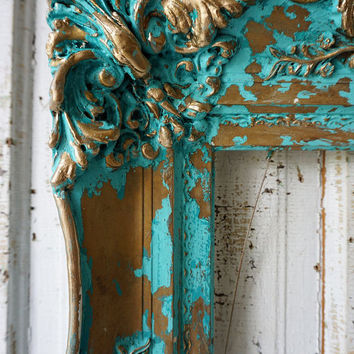 Ornate wood gesso picture frame ocean blue aqua wall hanging French antique inspired distressed shabby cottage chic decor anita spero design