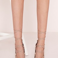 Missguided - Laser Cut Lace Up Court Shoes Nude