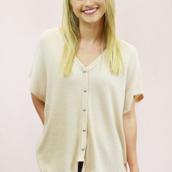 comfy cool waffle knit tie top - beige