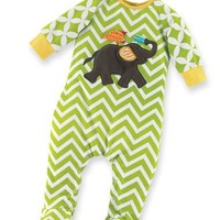 Mud Pie Unisex-Baby Newborn Safari Elephant Sleeper Footie