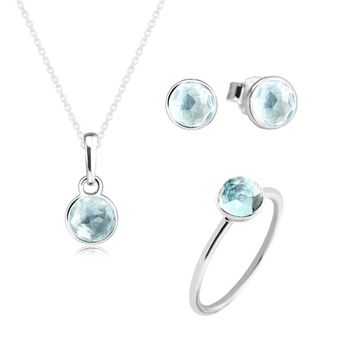 100% 925 Sterling Silver March Droplet Aqua Blue Crystal Ring Necklace Stud Earrings Jewelry Set for Women DIY Fine Jewelry
