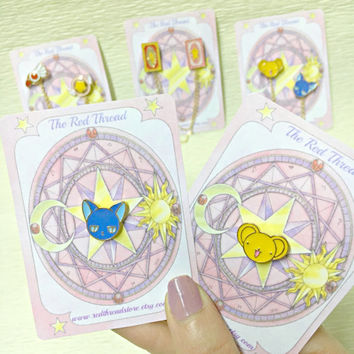 Cardcaptor Sakura Pin Set - Sakura - Enamel Pin - Manga - Kero- Spinel Sun - Clow Card - Kawaii - Harajuku - Alternative - Cute Pin - Gift