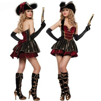 Caribbean Pirate Warrior Costume women Halloween Carnival Uniforms Party Cosplay Costumes Female Fancy Dress sexy Outfit