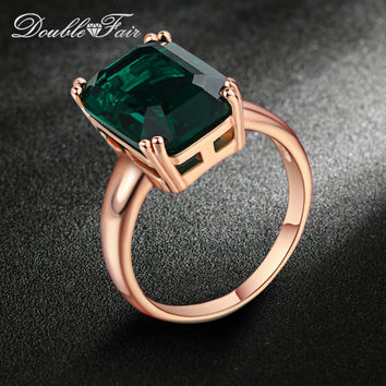 Double Fair Brand Emerald Ring Rose Gold Plated Fashion Red/Green Big Crystal Imitation Ruby Wedding Jewelry For Women DFR700
