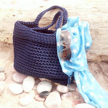 Knitted Bag/ Rope Bag/ Handmade Bag/ Chrochet Bag/ Bolso/ Beach Bags/ Market Bags/ Navy Bag/ Summer Handbag/Bags ,,Elegant,,