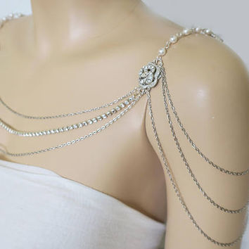 Shoulder Necklace Bridal Wedding Shoulder Jewelry Art Deco Wedding Dress Accessories Flapper Back Necklace Gatsby Rose Brooch Rhodium Chain