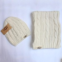 UGG 2018 autumn and winter models men and women warm knit hat scarf two-piece F0908-1 White