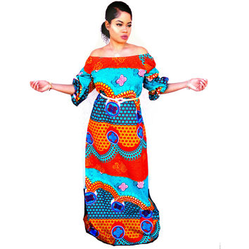 ZULU African Print Off Shoulder Balloon Maxi Dress