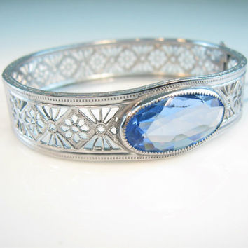 Art Deco Bracelet Bangle Rhodium Silver Filigree Sapphire Blue Oval Crystal Vintage 1930s Wedding Jewelry