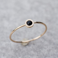 Tiny black onyx ring in 14k yellow gold, fine jewelry, natural onyx, handmade