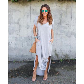 Women's Dress with Loose Fork Pocket and Medium Skirt Irregular Maxi Dress Casual Plain Grey Pockets Split Maxi Dr