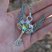 Fantasy Key Necklace Charm,Mistery jewelry,Winged jewelry,Rivoli pendant,Skeleton key steampunk,Fantasy pendant,Winged pendant,Yellow  OOAK