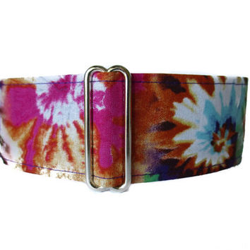 Greyhound Collar, Tie Dye Martingale Collar, Tie Dye Dog Collar, Dog Collar, Martingale Collar Greyhound, Wide Dog Collar