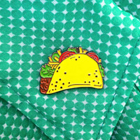 Taco Enamel Pin - Lapel Pin Taco Illustration - Beef Cheese Lettuce Tomato - Mexican Food Enamel Pin