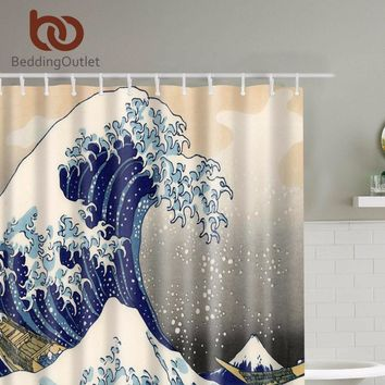 "BeddingOutlet Classic Japanese The Great Wave off Kanagawa Shower Curtain with Sea Wave Pattern Waterproof Bathroom 71"" x 71"""