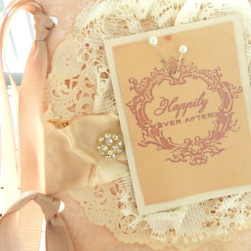 wedding card CUSTOM shabby card engagement card handmade card blush bridal romantic lace vintage