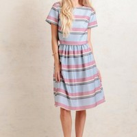 Summer Crest Striped Midi Skirt